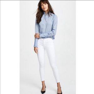 J Brand 835 Mid-Rise Cropped White Skinny Jeans 26